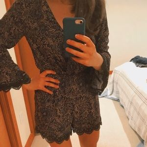 Chelsea & Violet Blue and Gold Paisley Romper